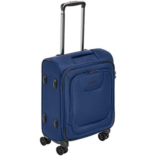 Amazon Basics - Maleta de cabina con ruedas de calidad superior, expandible, con lados blandos y cierre con candado TSA, 46cm, internacional, Azul