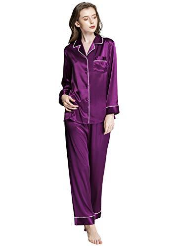 Damen Seide Pyjama Set Schlafanzug Violett XX-Large