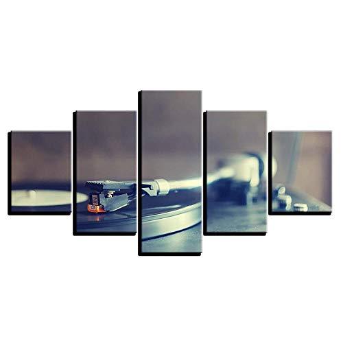 axqisqx afdrukken en foto's op canvas, muurkunst, 5 stuks, HD platenspeler in retro design