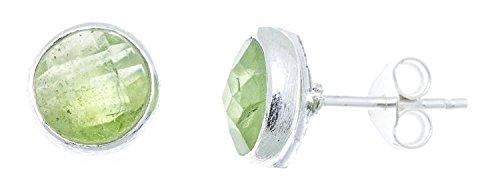 CHICNET Ohrstecker Prehnit rund 8 mm Rand 925er Sterlingsilber gebürstet facettiert grün