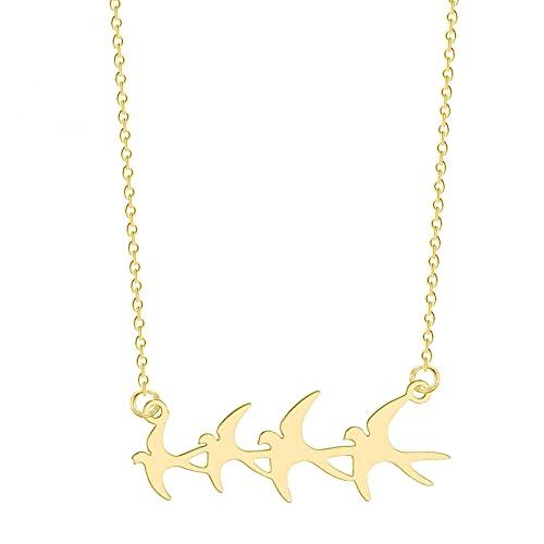 QiuYueShangMao Niedliche Herde von Vögeln Halskette Langkettige Halskette Tier Schwalbe Anhänger Halskette Frauen Männer Schmuck Geschenke Vintage Halskette freundschaftsketten Geschenk