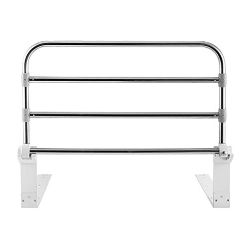 Bedside Handrails Stainless Steel Bed Guardrail Can Bear 150kg Foldable Design Height Adjustable In 4 Levels Punch-free Installation Suitable for All Bed Types