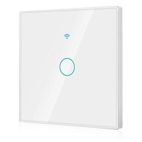 Control compartido Interruptor inteligente Interruptor WiFi Pantalla táctil unidireccional A prueba de golpes para Alexa y Google Home(white, European regulations)