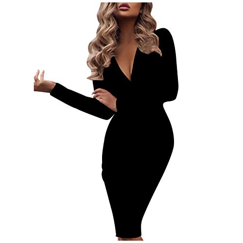 Vectry Damen midiklänning djupt V-ringad pennklänning enfärgad långa ärmar veckad klänning sexig omlottklänning smal passform knälång klänning arbete party afton klubb klänning