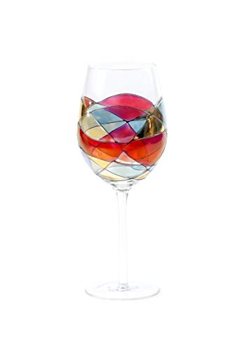 ANTONI BARCELONA Large Wine Glasses Set of 1 (29 Oz) - Handblown & Handmade, Painted Red Wine Glass,...