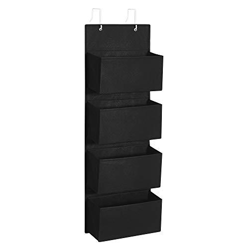 SONGMICS Bolsa Colgante de Puerta con 4 Bolsillos, Organizador Colgante de Pared, Práctico y Espacioso, para Dormitorio, Oficina, 33,5 x 12 x 100 cm, Negro RDH004B01