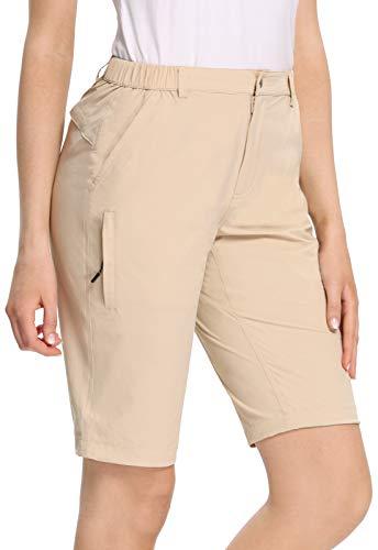 MOCOLY Women's Hiking Shorts Quick Dry Lightweight Cargo Half Shorts UPF 50+ Water Resistant Outdoor Fishing Golf Camping Shorts Khaki XL