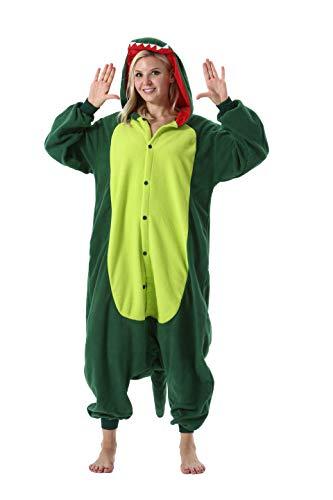 Tiere Onesie Karneval Kostüm Damen Jumpsuit Pyjama Schlafanzug Weihnachten Halloween Overall Nachtwäsche Faschingskostüme Herren Grüner Dinosaurier(M für Höhe 155-170cm)
