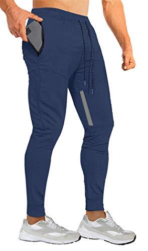 Yidarton Pantalones de chándal para hombre, de algodón, ajustados, con cintura elástica y bolsillos con cremallera marine XL