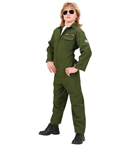Luxuspiraten - Jungen Kinder Kampfjet Pilot Kostüm mit Flieger-Overall, perfekt für Karneval und Halloween, 158, Grün