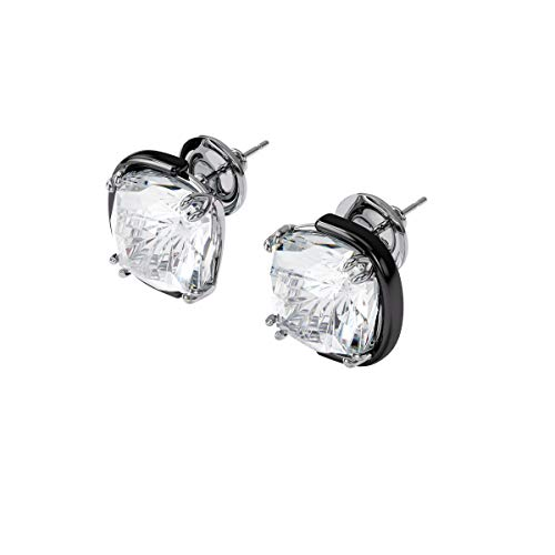 Swarovski Harmonia Earrings, Cushion cut crystals, White, Mixed metal...