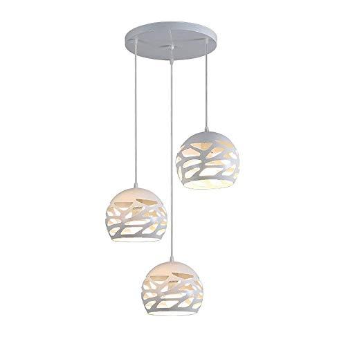 Modern Design Pendelleuchte Esstisch Hängeleuchte Kugel Deckenleuchte Kreative Einfache Hängelampe aus Metall Lampenschirme Weiß Pendellampe für Wohnzimmer Esszimmer Küche E27*3, Höhenverstellbar