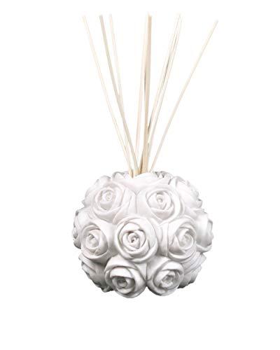 MANULENA Ambientador Mikado con Forma De Rosa. Aroma Garden Bouquet. Color Blanco. Difusor De Varillas con Palitos De Rattan Natural. 100 ml