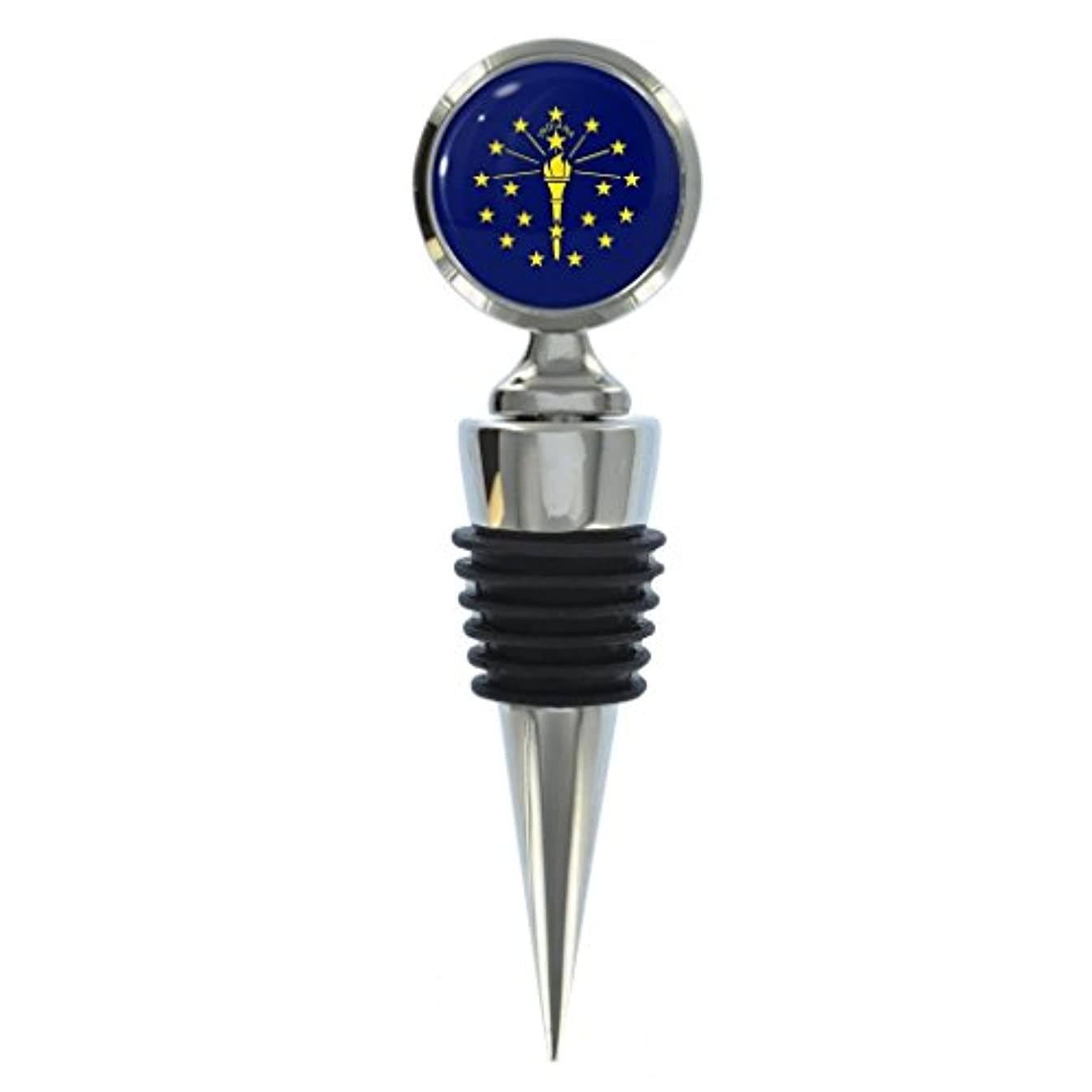Indiana US State Flag Metal Wine Bottle Stopper