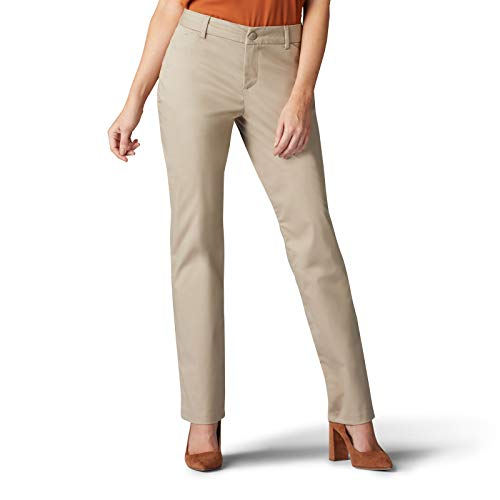Lee Women's Wrinkle Free Relaxed Fit Straight Leg Pant, Flax, 16