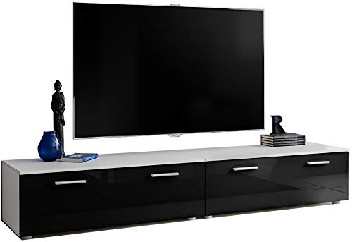 ExtremeFurniture T30-200 TV Mobile, Carcassa in Bianco Opaco/Frontali in Nero Lucido