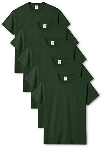 Fruit of the Loom Original T., T-Shirt Uomo, Verde (Bottle Green 38), Large(Pacco da 5)