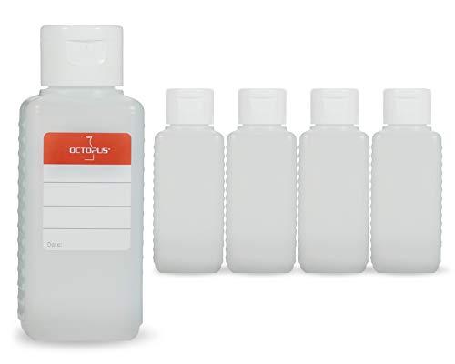 Octopus 5 x 100 ml Kunststoffflaschen, HDPE Plastikflaschen mit weißem Klappverschluss, Leerflaschen mit weißem Scharnierverschluss, Vierkantflaschen inkl. Beschriftungsetiketten