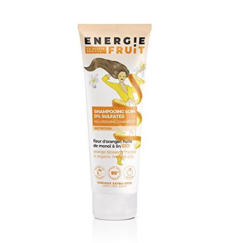 Energie Fruit Shampoing sans Sulfates pour Cheveux Très Secs/Abimés Monoï Oranger/Huile de Lin Bio, 250 ml, 1 Unité