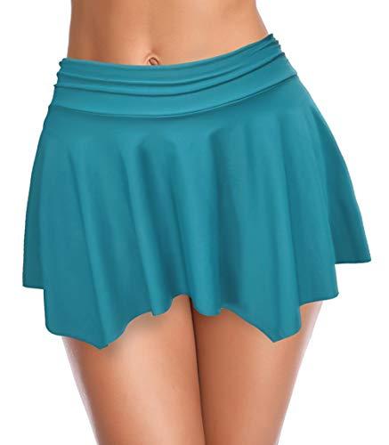 SHEKINI Dames Badpak Onregelmatig Volants Half Lichaam Zwemrok Hoge Taille Ruched Bikinibroek Strandshort broek Bikini Zwempak