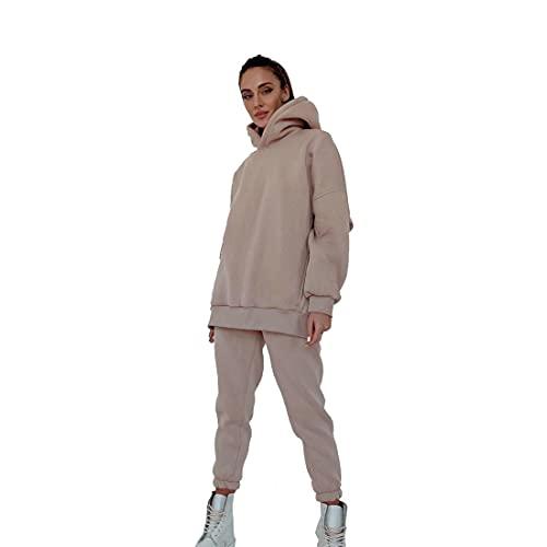 Loozykit Damen Trainingsanzug Sportanzug Mode 2-teiliges Set Sport Hoodie Langarm Sweatshirt Pullover Top + Lange Hose Jogginganzug Sportbekleidung Freizeitbekleidung Outfit(T-Beige, XL)