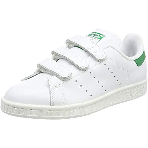 adidas Stan Smith CF, Scarpe da Ginnastica Mens, Ftwr White/Ftwr White/Green, 44 2/3 EU