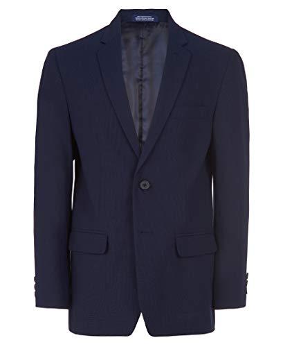 IZOD Boys' Big Bi-Stretch Blazer Suit Jacket, Blue Mini Grid, 16