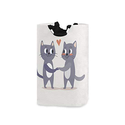 UMIRIKO Cesto para la colada con diseño de gato lindo animal pareja plegable cesta de lavandería cesto de tela bolsa de ropa de 50 l con asas 2020506