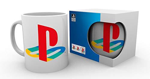 Sony Tasse mit Playstation 1 Logo / Kaffetasse weiß, bedruckt aus Keramik im Geschenkkarton