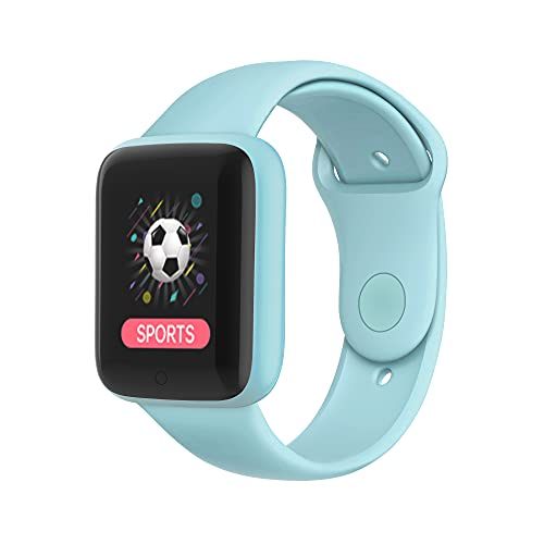 """Bluetooth Smart Watch, 1.44"""" Touchscreen Fitness Wristwatch, Fitness Tracker Remote Control Camera, Smart Watch for Compatible Android iOS (Light Blue)"""