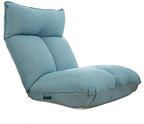 Sillas de salón para patio, silla de salón plegable, sofá portátil para balcón, dormitorio, sala de estar con respaldo ajustable duradero (color beige)-azul