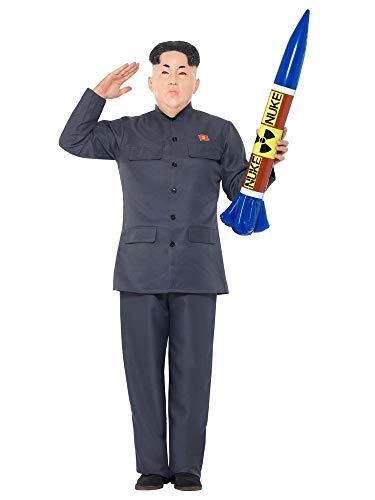 shoperama Kim Jong-un Herren Kostüm mit Maske Jacke Hose Diktator Korea Karneval Politiker, Größe:L