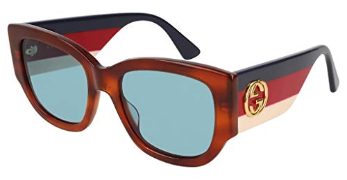 Gucci GG0276S 003 53 - Gafas de sol cuadradas para mujer, color azul
