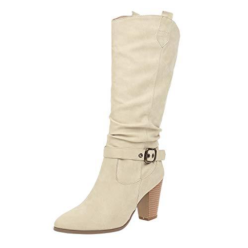 MMOOVV Damen Stiefel mit Absatz Leder Cross Strap Mittelrohr Stiefeletten Schuh Cowboy Low-Heel Slip-On Boots