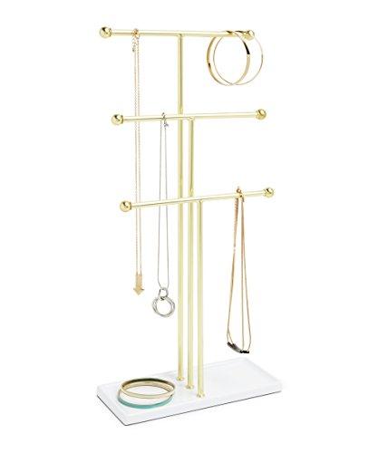 Umbra Trigem Schmuckbaum – Extra Hoher Schmuckständer für Ketten Weiß / Gold