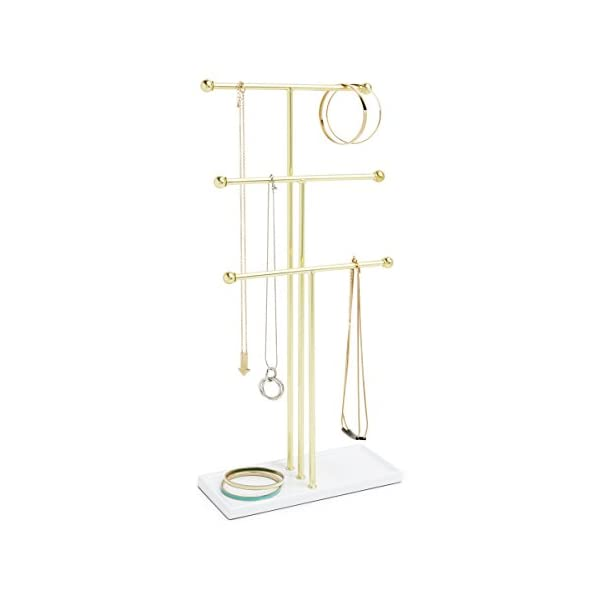Umbra Trigem Hanging Organizer – 3 Tier Table Top Necklace Holder, Box Display...
