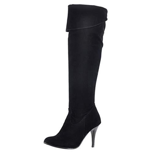 VENMO Frauen High Heels über Knie Stiefel Unifarben Lace up Hohe Freizeitstiefel Weichem Overknee-Stiefel Bequeme Plateau Langen Stiefeln Damenstiefel Schlupfstiefel