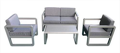 Jet-line Design Gartenlounge 'Delfi' in Aluminium schwarz oder grau (Grau) Gartenmöbel Terrasse Balkon Alu hochwertig mit abgerundeten Ecken