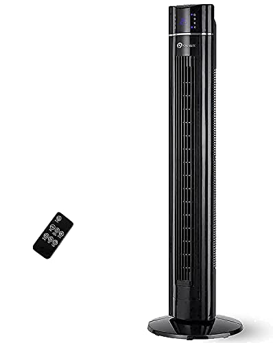 PureMate Tower Fan, 43' Oscillating Tower Fan with Air Purifier & Aroma Function, 3 Cooling Fan Speeds, Large LED Display, 8-Hour Timer, Portable Floor Bladeless Fan for Bedroom Living Rooms Office