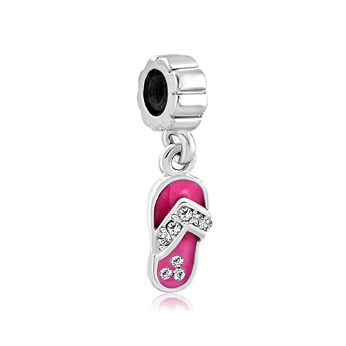 Uniqueen Pink Crystal Rhinestone Beach Shoes Charms Dangle Bead for Pandora/Troll/Chamilia Charm Bracelet