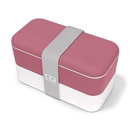 monbento - MB Original Bento Box Made in France - Brotdose mit 2 Fächer - Lunch Box perfekt für Büro/Meal prep/Schule (Blush)