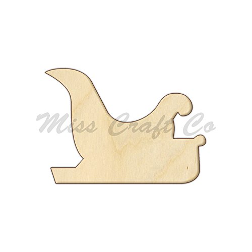 Santa Sleigh 2 Wood Shape Cutout, Wood Craft Shape, Unfinished Wood, DIY Project. All Sizes Available, Small to Big. Made in the USA. 7 X 5 INCHES