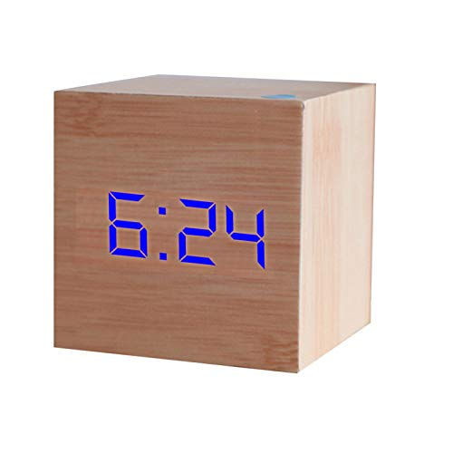 LITONGFU Digital Alarm Clock Cube Wooden Led Alarm Clock Temperature Sound Control Led Display Electronic Desktop Digital Clock