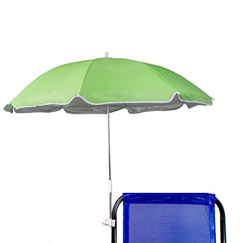 Besch Sombrilla para Silla Playa, Jardín, Piscina,Terraza o Patio, Protección Solar UPF50+, Ø100cm (Verde.)