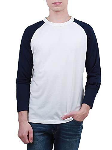 Sourcingmap Homme Long Raglan Manches Blocs de Couleur Coupe Régulière Confort T-Shirt Blanc 42