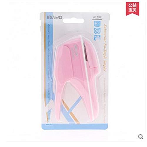 BEESCLOVER Handheld Geen Nagels Nietmachine Mini Leuke boek Nietloze Nietmachine Binding Tool voor School Office Creatief Geschenk roze
