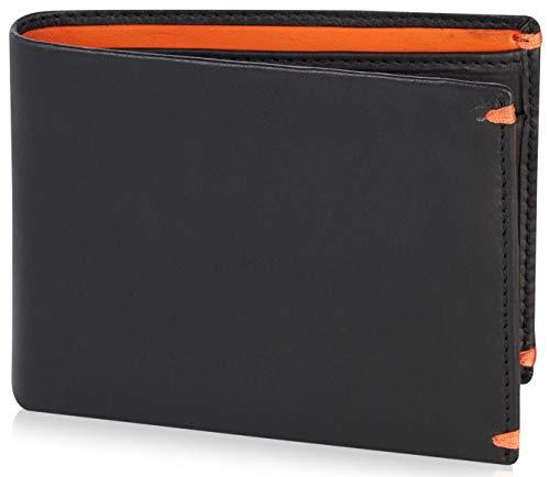 Visconti ® Portafoglio Uomo Vera Pelle con protezione RFID Porta Carte di Credito con Portamonete Borsellino Portafogli a piegatura Porta Banconote - 'Alps' (AP62 Blk/Orange)