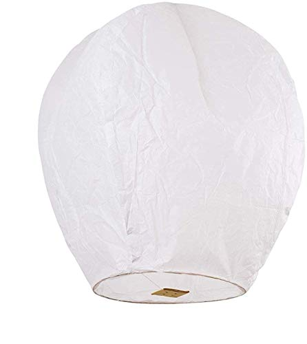 Chinese Lanterns 30-Pack White Fully Assembled and Fuel Cell Attached is 100% Biodegradable, New Designed Sky Lantern with Gift Box Coral Entertainments for Any Occasion.