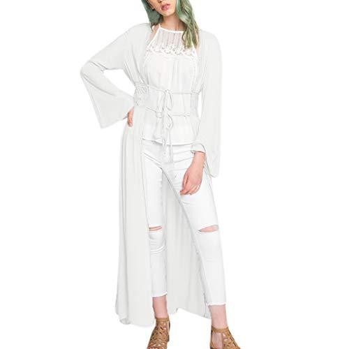 FRAUIT Damen Casual Lace T-Shirt Kimono Lose Lange Ärmel Schal Cardigan Cardigan Cover Up Klassisches langes Bogen Tops Unregelmäßige Strick Oversize Langarm Pullikleid Longshirt Top Minikleid