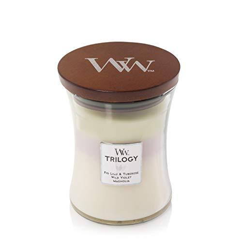 Woodwick - Candela trilogy profumata a clessidra, con innovazione Pluswick, motivo: fiori di terrazza